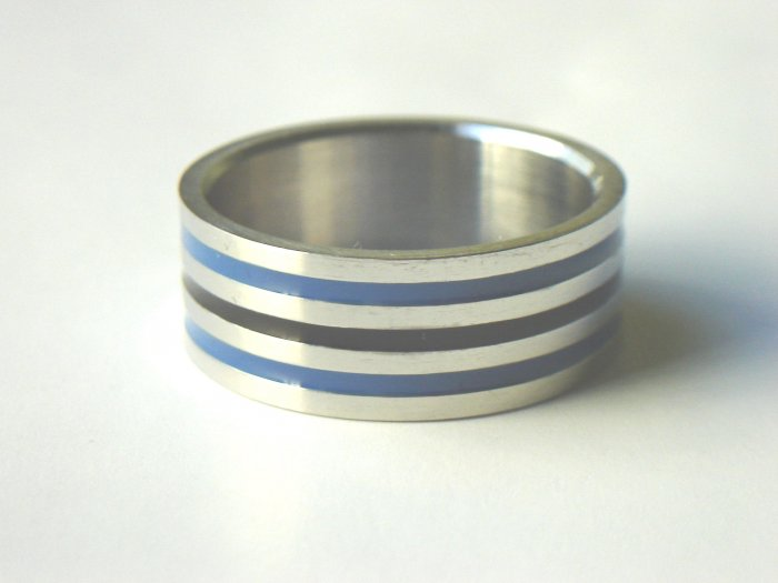 Free shipping--Stainless Steel Three Row Band Ring