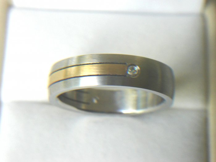 Free shipping--Gold-Plated and Stainless Steel  2-Tone CZ Wedding Ring