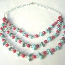 Free shipping--Turquoise, Coral, Crystal Beads Necklace