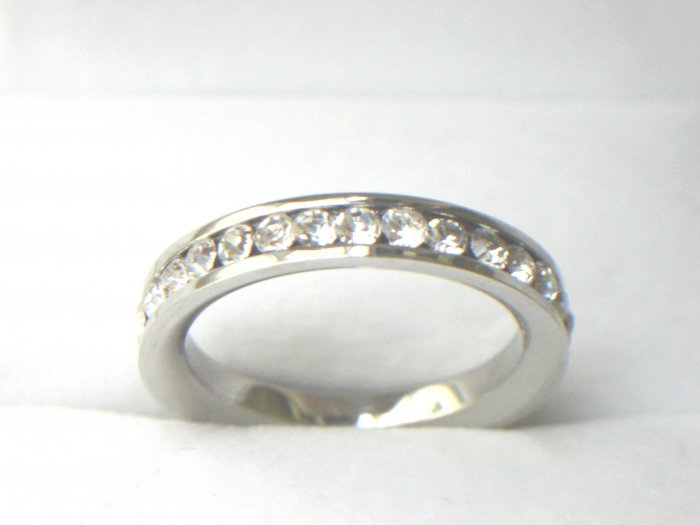 Free shipping--Stainless Steel CZ  Round Eternity Band Ring