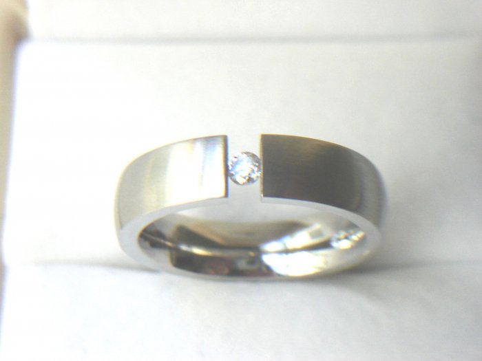 Free shipping--Stainless Steel CZ Band Ring.