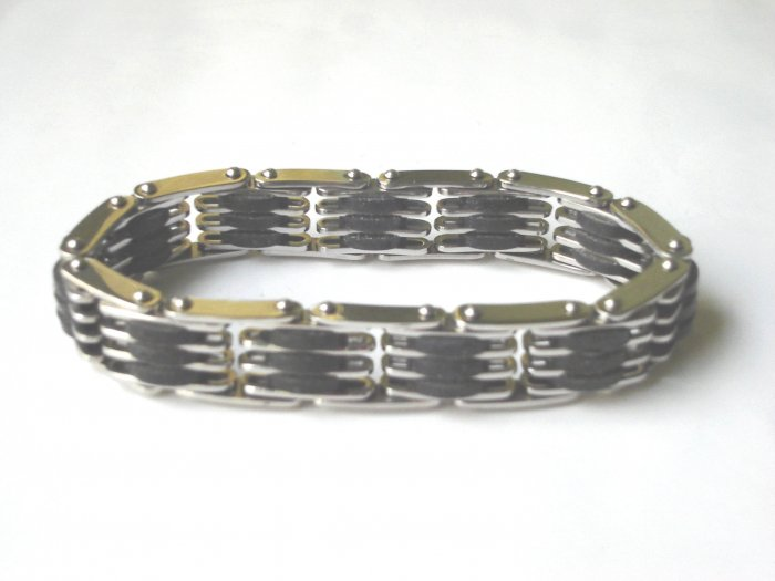 BHY-2043    Stainless Steel And Rubber Stretch Bracelet