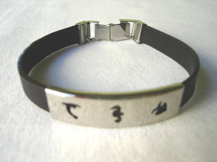 BHY-6006    Stainless Steel and Genuine Leather Bracelet