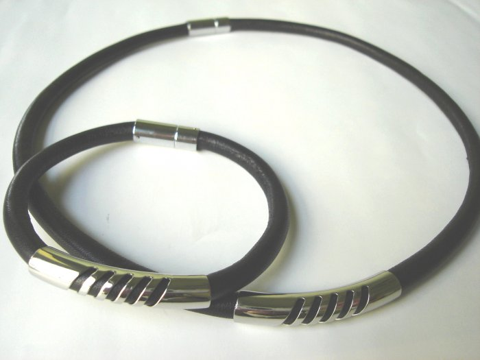 NBHY-8007  Stainless Steel & Genuine Leather Jewelry set