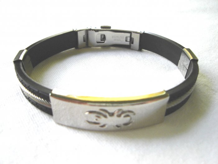 Free shipping--Stainless Steel And Rubber Bracelet