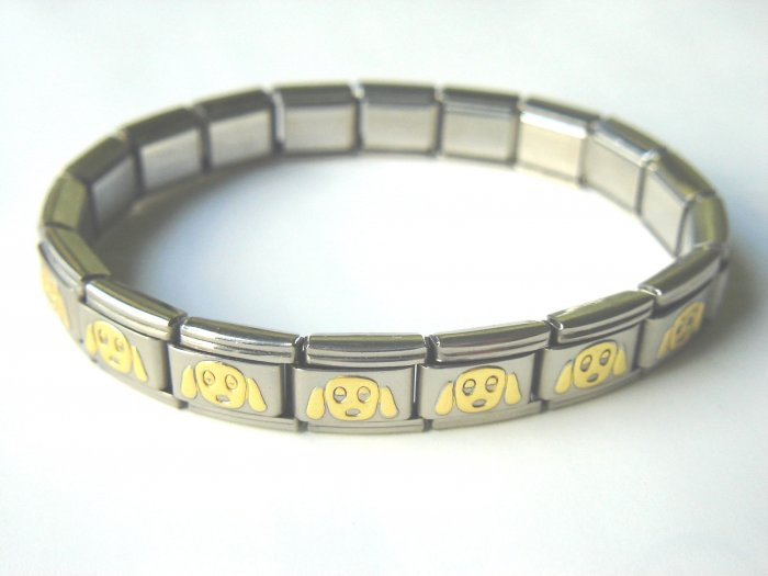 Free shipping--Steel And Goldtone 2-Tone Stretch Bracelet. 4 Pcs/Lot