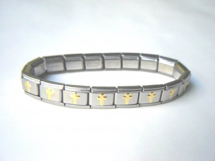 Free shipping--Steel And Goldtone 2-Tone Stretch Bracelet. 4Pcs/Lot