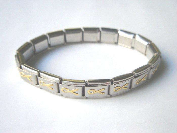 Free shipping--Steel And Goldtone 2-Tone Stretch Bracelet. 4 Pcs/Lot