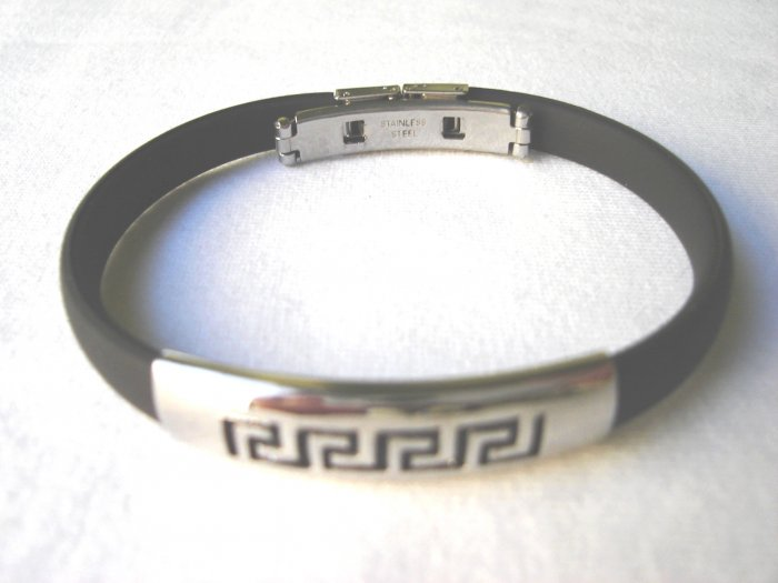 BHY-2032    Stainless Steel And Rubber Bracelet