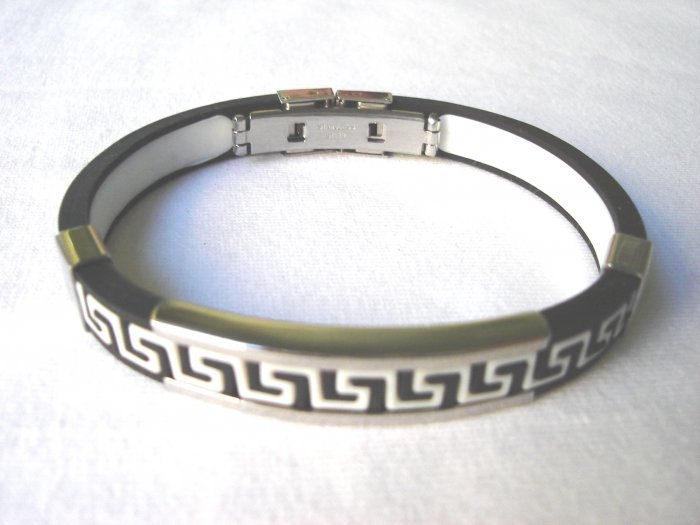 BHY-2025    Stainless Steel And Rubber Bracelet