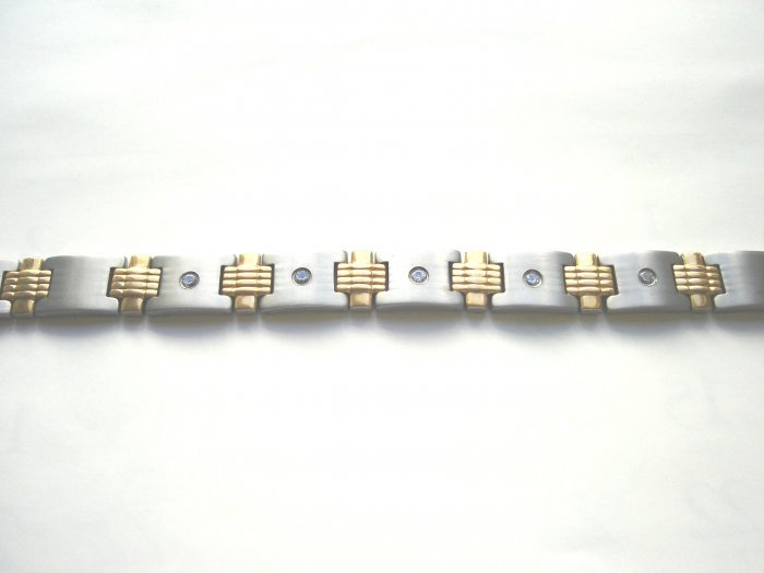 BHD-8001   Titanium and  Gold-Plated 2-Tone CZ Bracelet