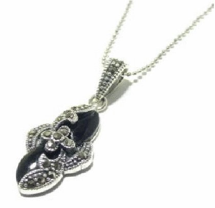 Free shipping---Handmade Silver, Marcasite, Agate Pendant