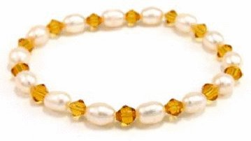 Free shipping---Natural Pearl and Crystal Bracelet