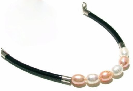 Free shipping---Natural Pearl and Leather Bracelet With Lobster Clasp