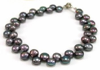 Free shipping---Black Natural Pearl Bracelet With Lobster Clasp