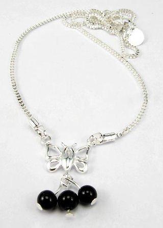NBK-6004    Sterling  Silver & Black Agate Necklace