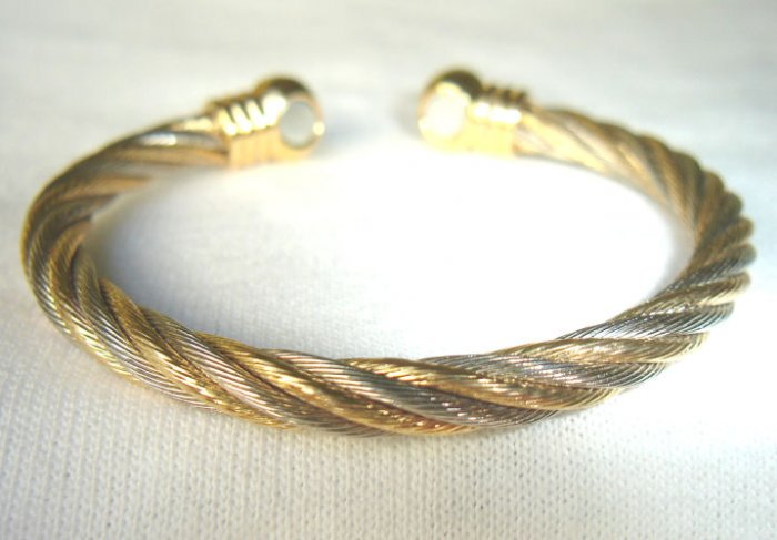 BWT-8003 Stainless Steel and Goldtone 2-Tone Cuff Bracelet