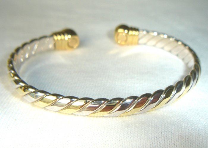 BWT-8005 Stainless Steel and Goldtone 2-Tone Cuff Bracelet