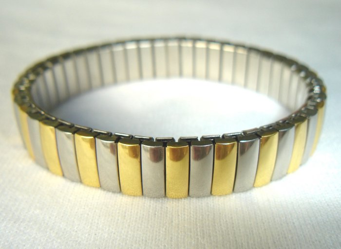 Free shipping--4pcs/Lot Stainless Steel And Goldtone 2-Tone Stretch Bracelet