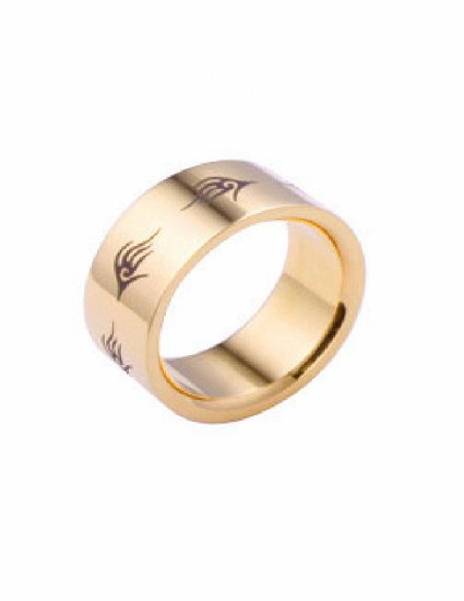 Free shipping--Gold-Plated Stainless Steel Band Ring