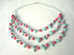 Free shipping---Turquoise, Coral, Crystal Beads Necklace