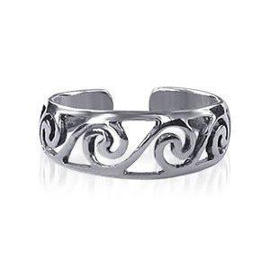 Free shipping--Pretty Filigree Swirl Toering Sterling Silver Toe Ring