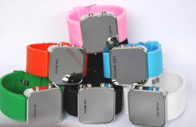 Free shipping---Mirrored Surface LED Watches 8pcs/lot