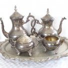 ANTIQUE FB ROGERS SILVER PLATE TEA POT COFFEE SET 5pc W/HUGE TRAY ORNATE SET