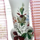 ANTIQUE HAND BLOWN BRISTOL GLASS VASE HAND PAINTED ROSES FLOWERS LOVELY 7 3/4""