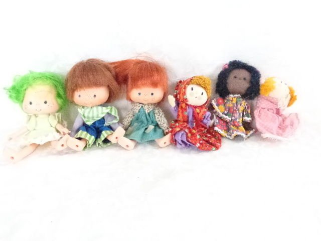 VINTAGE MINI DOLL LOT AGC 1979 HALLMARK PUPPET DOLLS-4 ADORABLE 7pc DOLL LOT