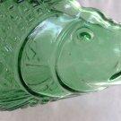 "VINTAGE NAUTICAL AQUA GREEN GLASS FISH BOTTLE FLASK..NICE DECOR 11 3/4"" TALL"