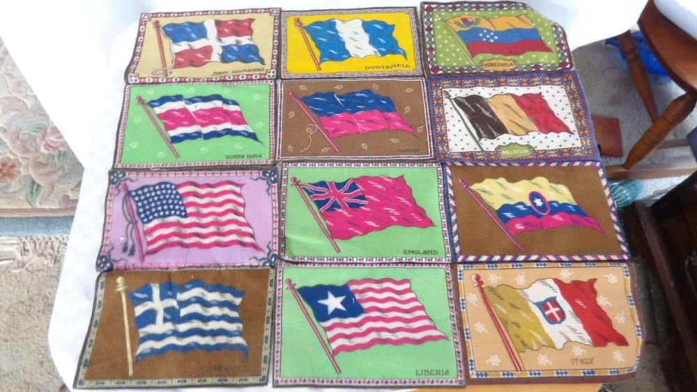 LOT 12 1920s TOBACCO FELT ADVERTISING FLAGS OF WORLD FOR QUILT ITALY US GREECE