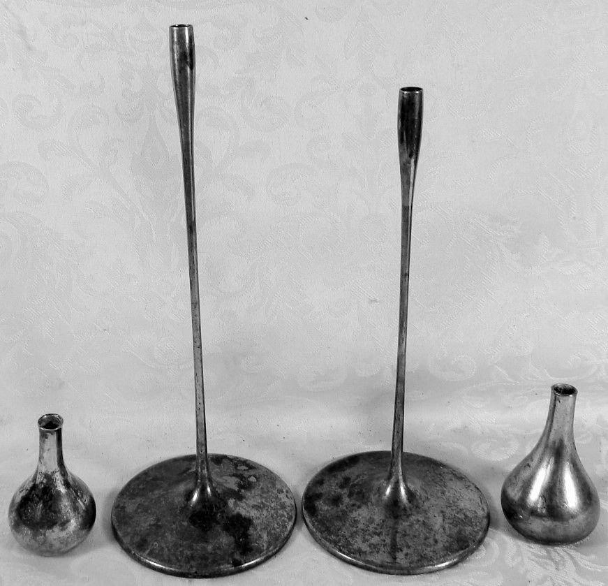 VINTAGE LOT 4 DANSK OF DENMARK SILVER PLATE TAPER CANDLE STICK HOLDERS MODERNIST