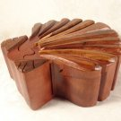 VINTAGE CARVED CHERRY WOOD SEA SHELL TRICK PUZZLE JEWELRY BOX JEWELRY CASE NEAT!