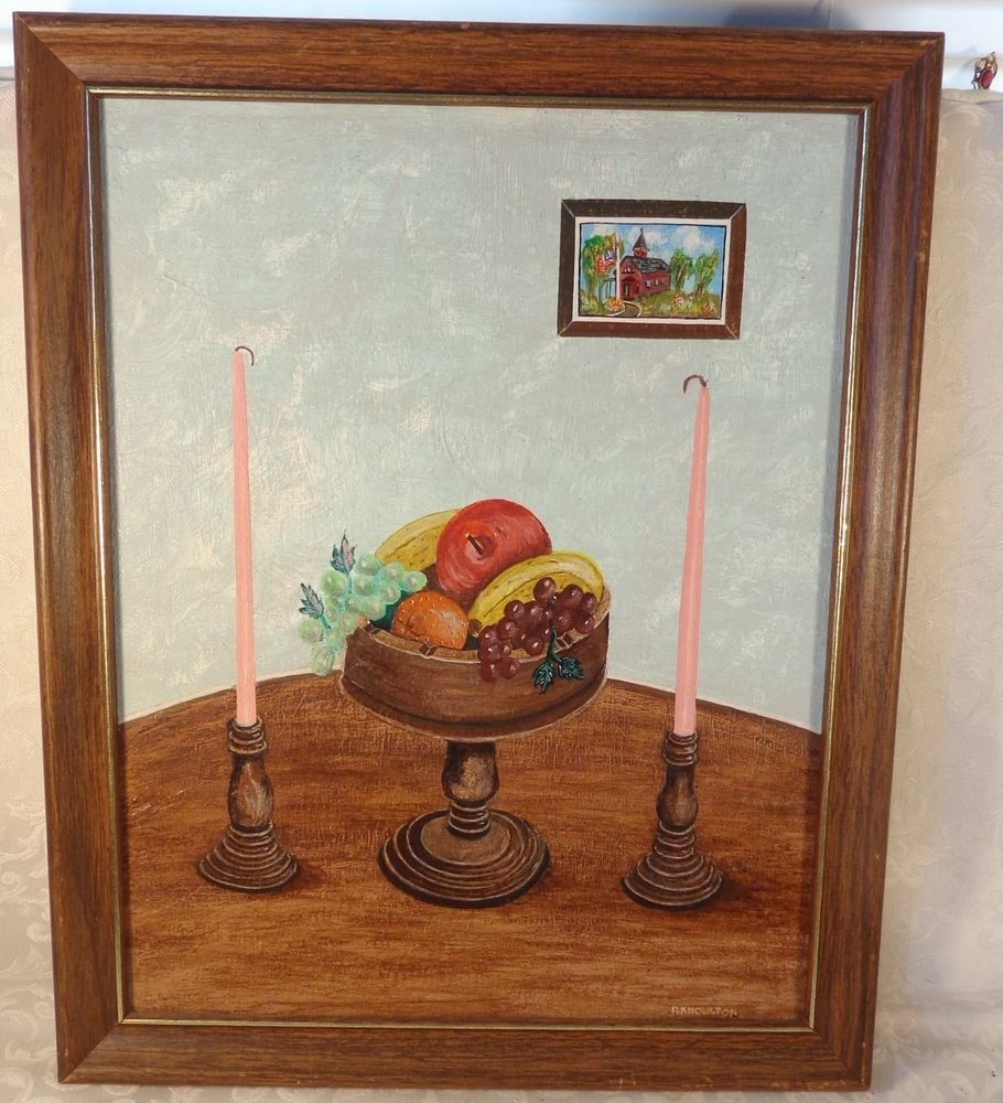 1980s R KNOWLTON ACRYLIC PAINTING BASKET FRUIT PICTURE IN PICTURE FRAMED ARTWORK