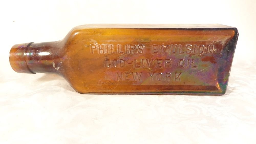 ANTIQUE PHILLIPS EMULSION COD LIVER OIL AMBER GLASS BOTTLE THICK GLASS NEW YORK