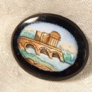 ANTIQUE 1870s MINIATURE HAND PAINTED MINIATURE ON BLACK GLASS FRENCH BRIDGE