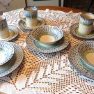 VINTAGE SET POLISH SERVICE 4 GREEN BLUE DRIP SPONGWARE POTTERY SET CUPS PLATES