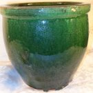 VINTAGE HEAVY GREEN ART POTTERY STONEWARE JARDINERE FLOWER POT PLANTER