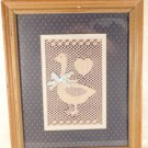"VINTAGE HAND CROCHET EMBROIDERY PICTURE FRAMED ART ""LITTLE DUCK"" BABY BOY ROOM'S"