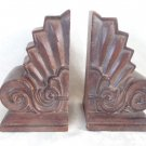 VINTAGE SET 2 MELANNCO THE KEEPER OF MEMORIES HEAVY FAUX SCROLL WOOD BOOK ENDS
