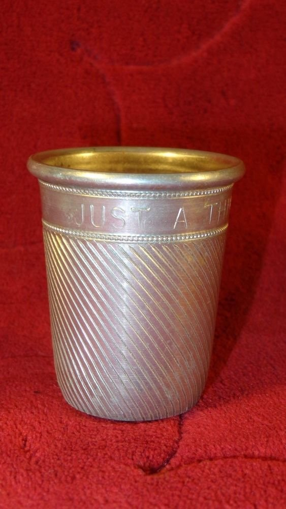 """VINTAGE HAND CHASED ALUMINUM """"JUST A THIMBLE FULL"""" METAL SHOT GLASS LOVELY"""
