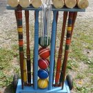 ANTIQUE VINTAGE CROQUET SET DOVE TAIL WOODEN MALLET BACKYARD GAME COMPLETE SET