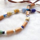 VINTAGE ASSORTED AFRICAN TRADE BEADS NECKLACE TUBE CLAY GLASS BEADS NICE PIECE