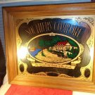 VINTAGE HUGE SOUTHERN COMFORT WHISKY OLD DRINK SOUTH MIRROR PICTURE WOOD FRAME