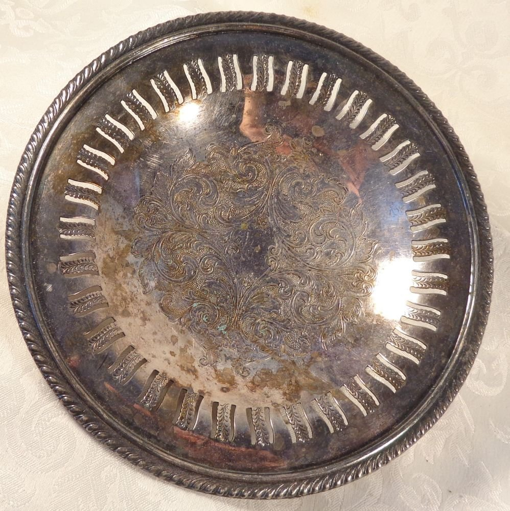 ANTIQUE HAND CHASED SILVER PLATE FOOTED PEDESTAL BOWL PLATE DISH LOVELY