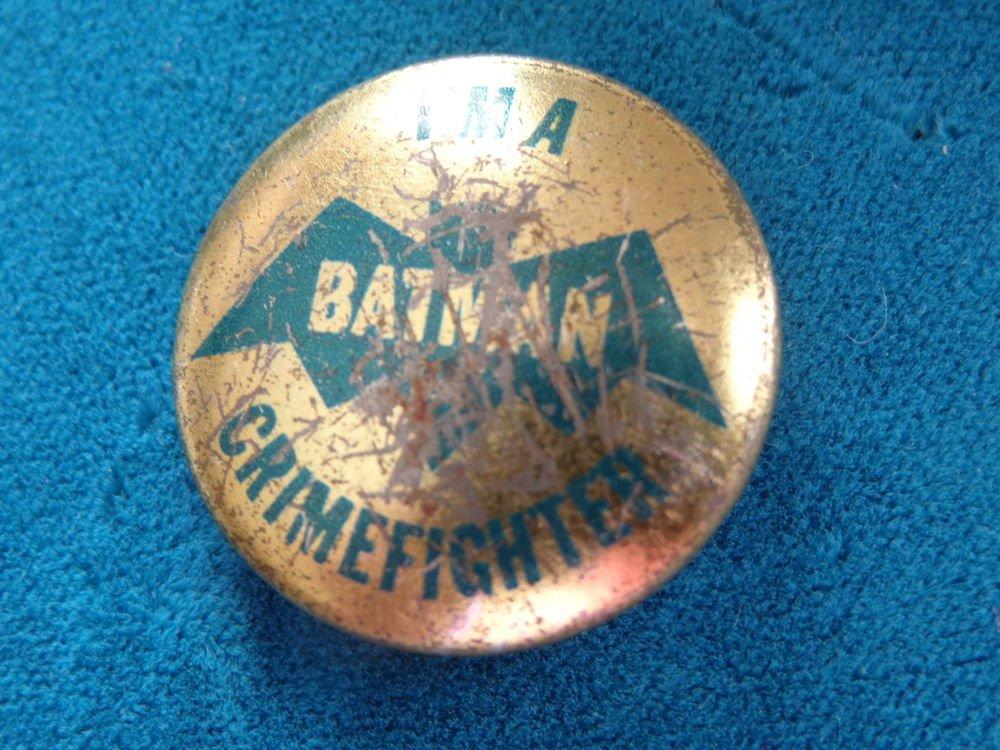 "1966 ""I'M A BATMAN CRIME FIGHTER"" NPP PIN BACK BUTTON BATMAN & ROBIN PIN"