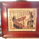 VINTAGE 50-60s EGYPTIAN PAINTING ON PAPYRUS PAPER HIEROGLYPHICS MAHOGANY FRAME