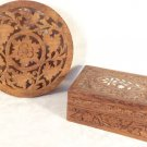 VINTAGE HAND CARVED WOOD TRINKET BOX INLAID MOTHER PEARL & TRIVET FLORAL DECOR