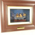 VINTAGE 1797 USS CONSTITUTION HAND BLOWN GLASS SHIP UNDER GLASS PICTURE FRAMED